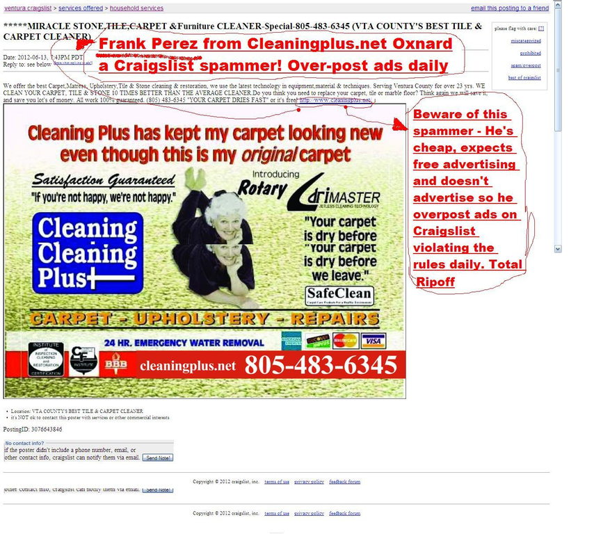 Ripoff Report Craigslist Spammer Cleaningplus Net 888