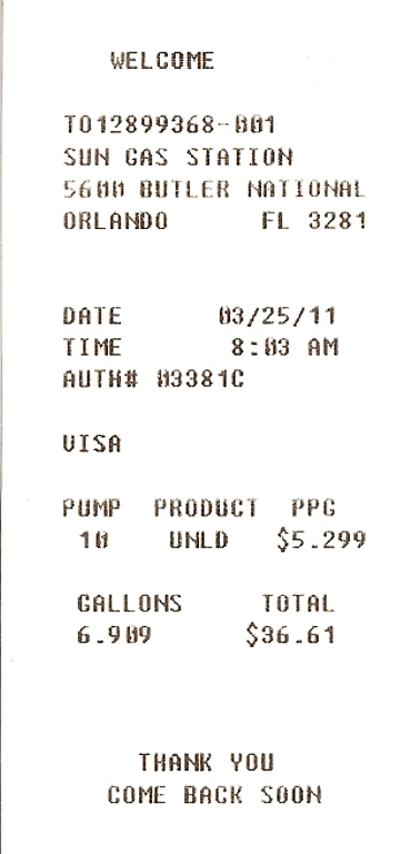 gas station receipt template