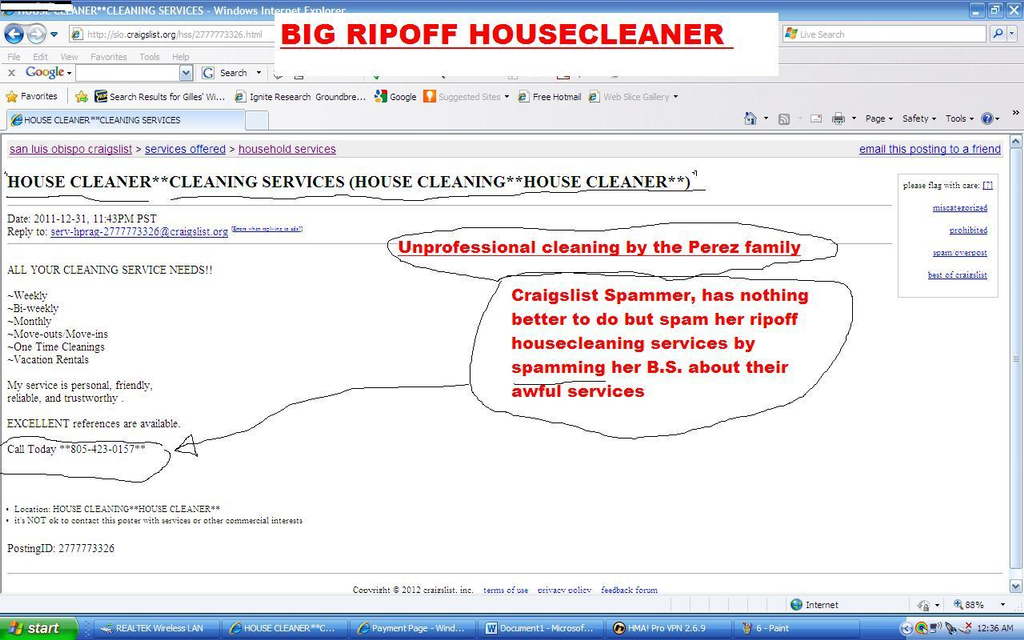 ripoff report perez family housecleaning house cleaner complaint total unprofessional cleaning services report attachments