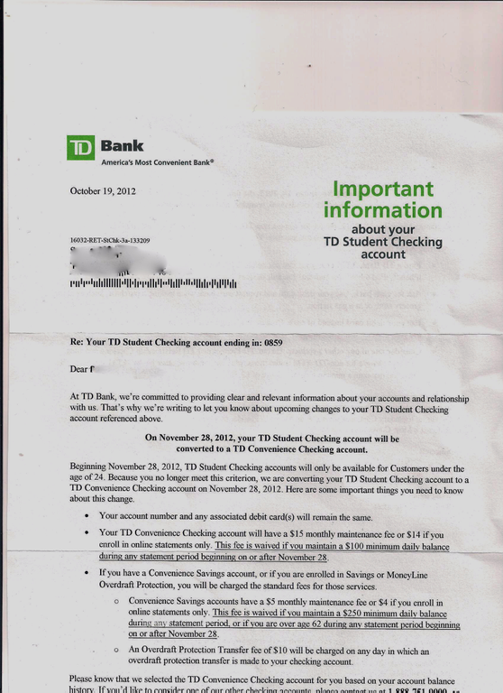 how to send bank statements td canada