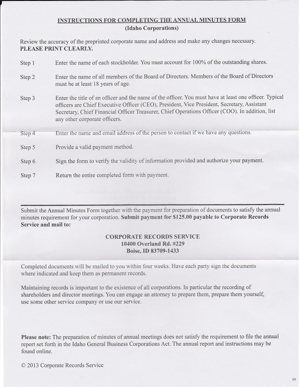 Corporate Minutes Example - Free Printable Documents
