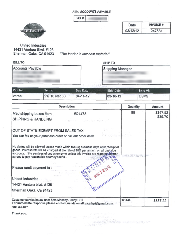 ripoff report united industries complaint review sherman oaks united industries pro forma invoicing invoice for product not purchased sherman oaks california