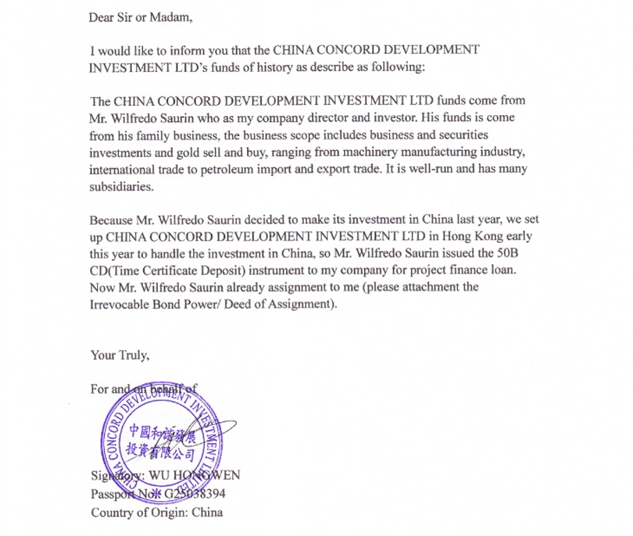 Ripoff Report – Proof of Funds Letter