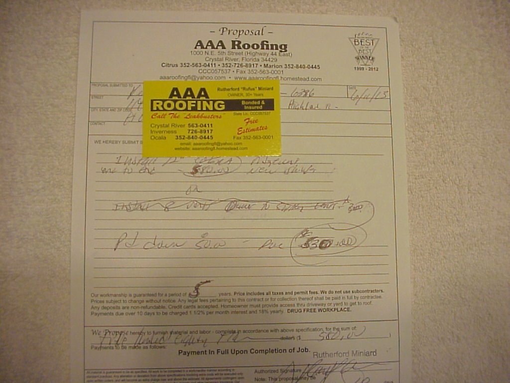 Ripoff Report Aaa Roofing Complaint Review Crystal River