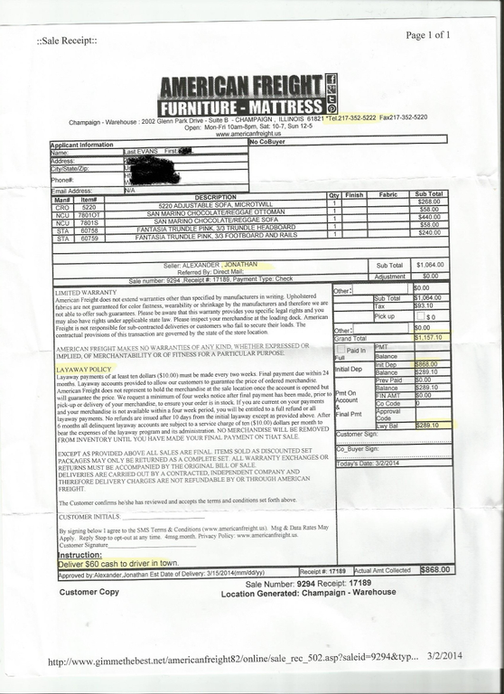 Ripoff Report American Freight Furniture Complaint