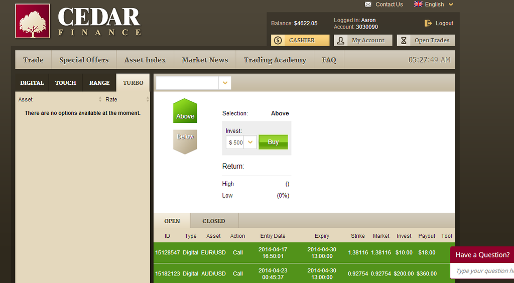 Binary options trading cedar finance nummer