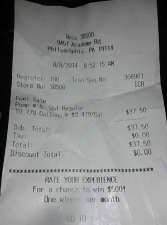 Shell Gas Station Receipt