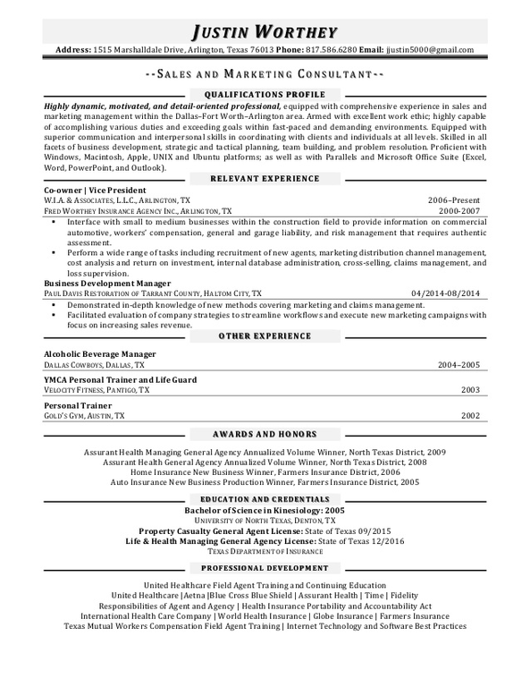 Life insurance license on resume