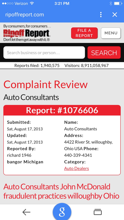 auto scams history report scam