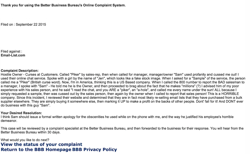 ripoff report email list com sam owner manager complaint report attachments