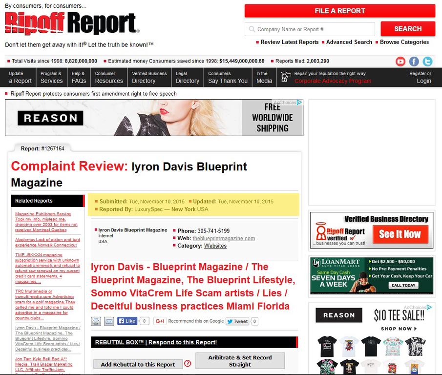 Ripoff report iyron davis blueprint magazine complaint review respond malvernweather Gallery