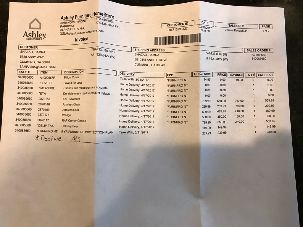Ripoff Report Ashley Furniture Complaint Review