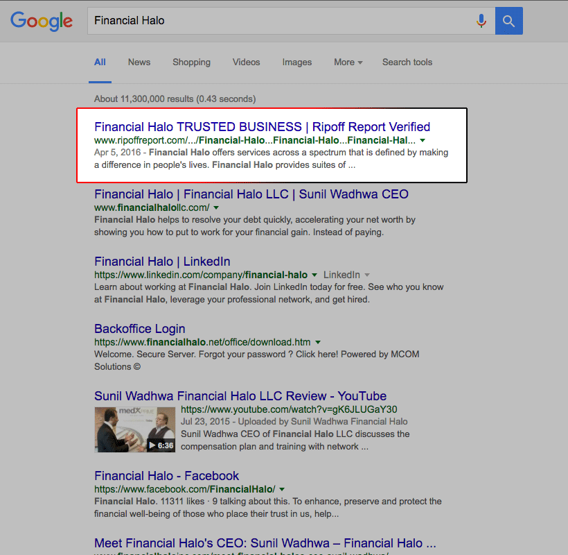 Google Results After The CAP Program